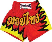 Twins Thai Style Trunks Red W/Gold Flames